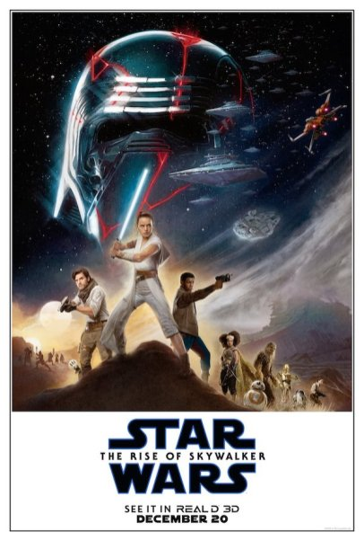 Rey and Kylo Ren are at the center of a poster for new trilogy characters in this Real D 3D one sheet for STAR WARS: THE RISE OF SKYWALKER (2019)