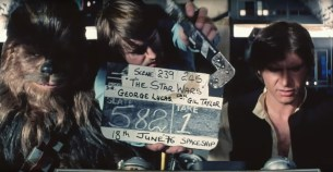 A take is about to be slated on the set of STAR WARS (1977)