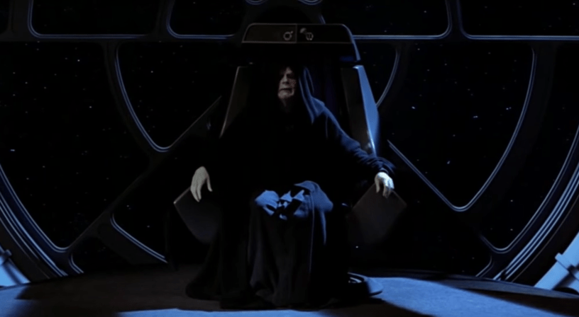 The Emperor sits on his throne in RETURN OF THE JEDI. He will return in STAR WARS: THE RISE OF SKYWALKER (2019)