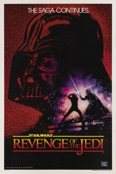 The REVENGE OF THE JEDI promotional poster from 1982, before the title was changed to RETURN OF THE JEDI.