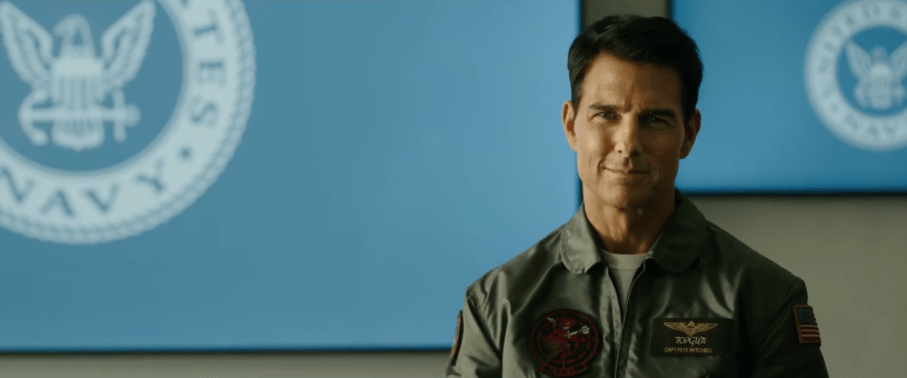 Tom Cruise flashes that classic smirk as Maverick in TOP GUN: MAVERICK (2020)