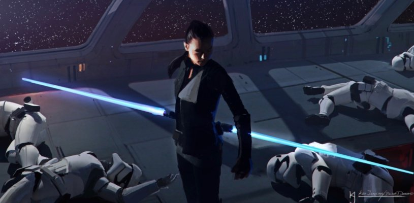 Rey, clad in a black Jedi uniform similar to Luke's in RETURN OF THE JEDI, wields a dual-blue lightsaber to slay First Order Stormtroopers in the opening sequence of STAR WARS: DUEL OF THE FATES