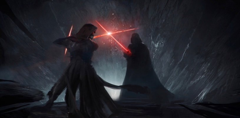 Kylo Ren faces off against an apparition of Darth Vader for a lightsaber duel in a cave on Remincore in STAR WARS: DUEL OF THE FATES