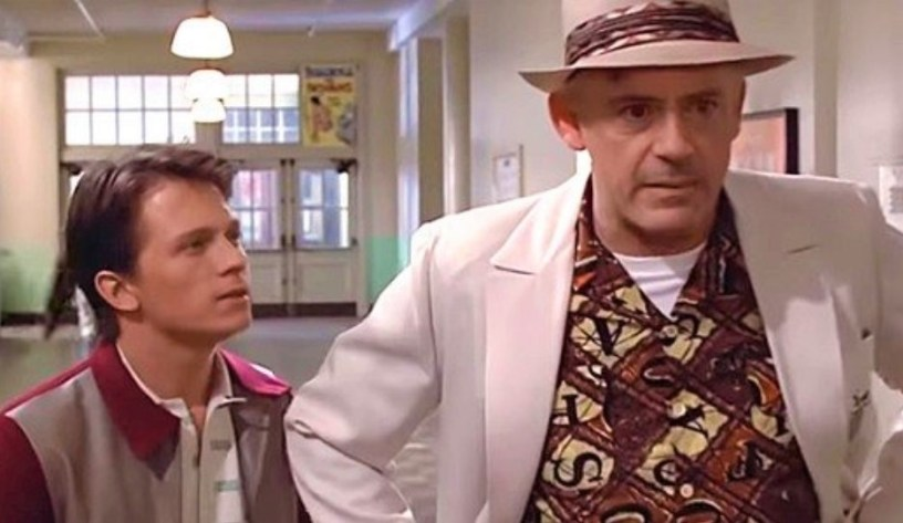 Tom Holland and Roberty Downey, Jr. become Marty McFly and Doc Brown in a deepfaked scene from BACK TO THE FUTURE