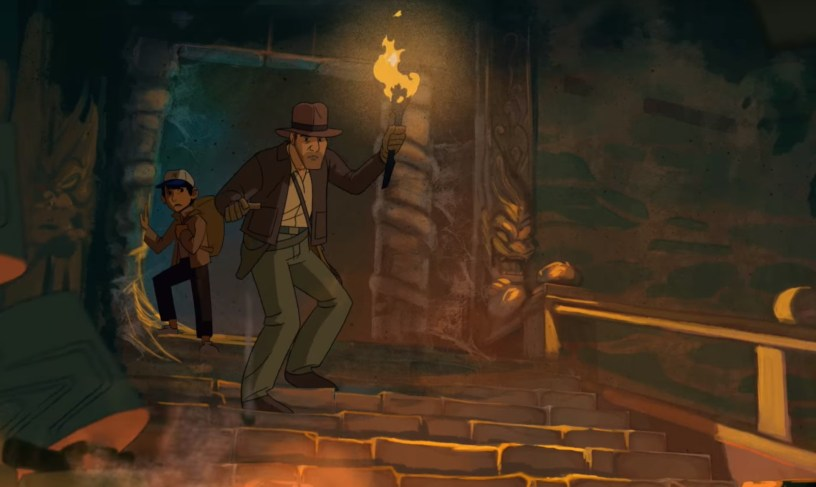 A frame from freelance animator Patrick Schoenmaker's pitch video for an animated ADVENTURES OF INDIANA JONES series.