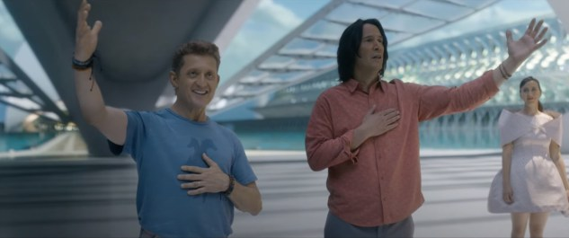 Alex Winter and Keanu Reeves return as the aged rockers in BILL & TED FACE THE MUSIC (2020)