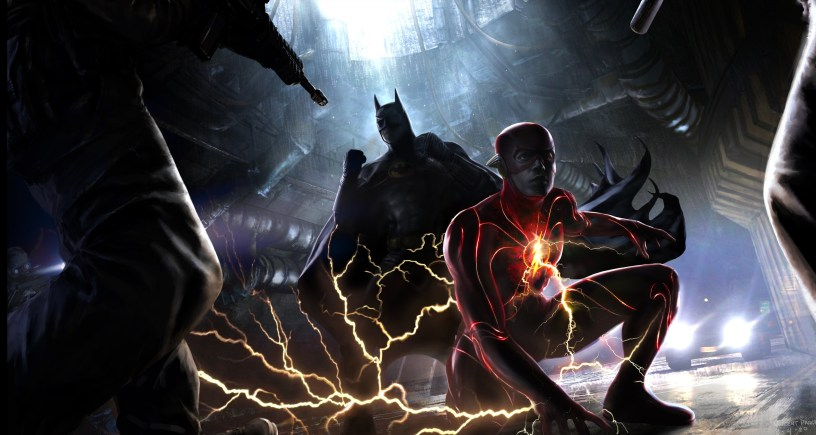 Concept Art of Michael Keaton's Batman teaming up with Ezra Miller's Flash in the forthcoming DCEU adventure THE FLASH (2022)