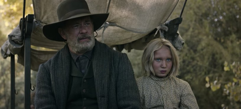 Tom Hanks stars alongside young German actress Helena Zengel in the Paul Greengrass Western NEWS OF THE WORLD (2020)