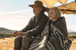(from left) Captain Jefferson Kyle Kidd (Tom Hanks) and Johanna Leonberger (Helena Zengel) in News of the World, co-written and directed by Paul Greengrass.
