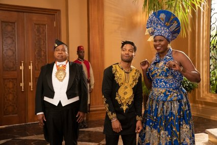 Paul Bates, Jermaine Fowler, and Leslie Jones co-star in the Amazon Prime comedy sequel COMING 2 AMERICA (2021)