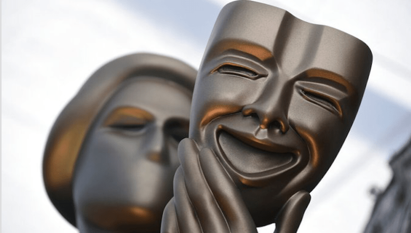 Close-up of the mask on the statue of the Screen Actors Guild award.