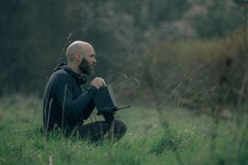 Writer / Director David Lowery on location for THE GREEN KNIGHT (2021)