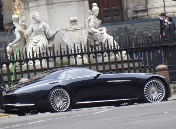 Bruce Wayne's car is parked on location for the film production of THE FLASH (2022)