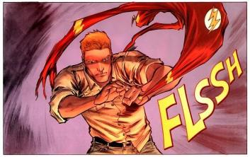 """A panel from a comic book edition of """"The Flash"""" that depicts his costume ring."""