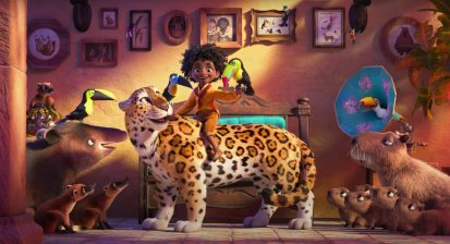 A Madrigal boy and his animals in the Disney animated movie ENCANTO (2021)