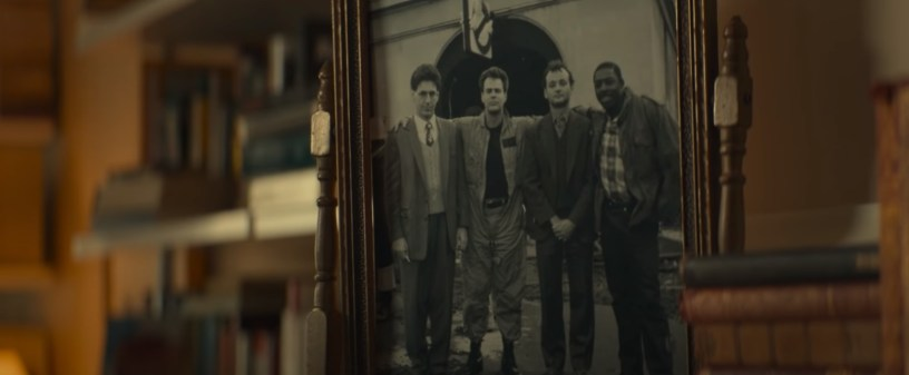 A photograph of the original Ghostbusters, seen in the franchise reboot GHOSTBUSTERS: AFTERLIFE (2021)