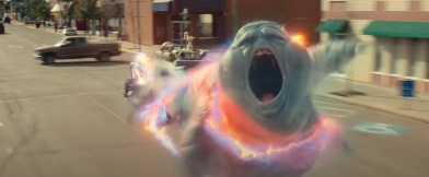 Slimer is caught in the stream by new Ghostbusters, in the franchise reboot GHOSTBUSTERS: AFTERLIFE (2021)