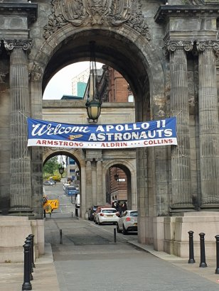 A Glasgow street is transformed to an NYC ticker tape parade route for the Apollo 11 crew in 1969, for INDY 5.