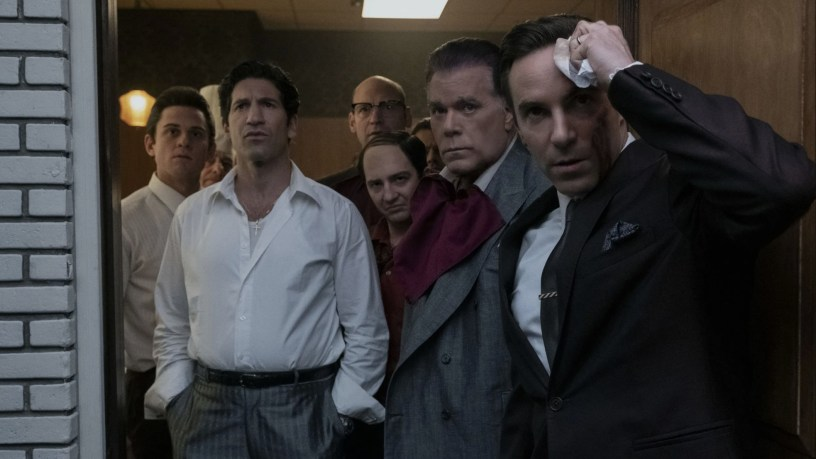 Alessandro Nivola (far right) leads the ensemble including Jon Bernthal, Corey Stoll and Ray Liotta in the Sopranos prequel THE MANY SAINTS OF NEWARK (2021)
