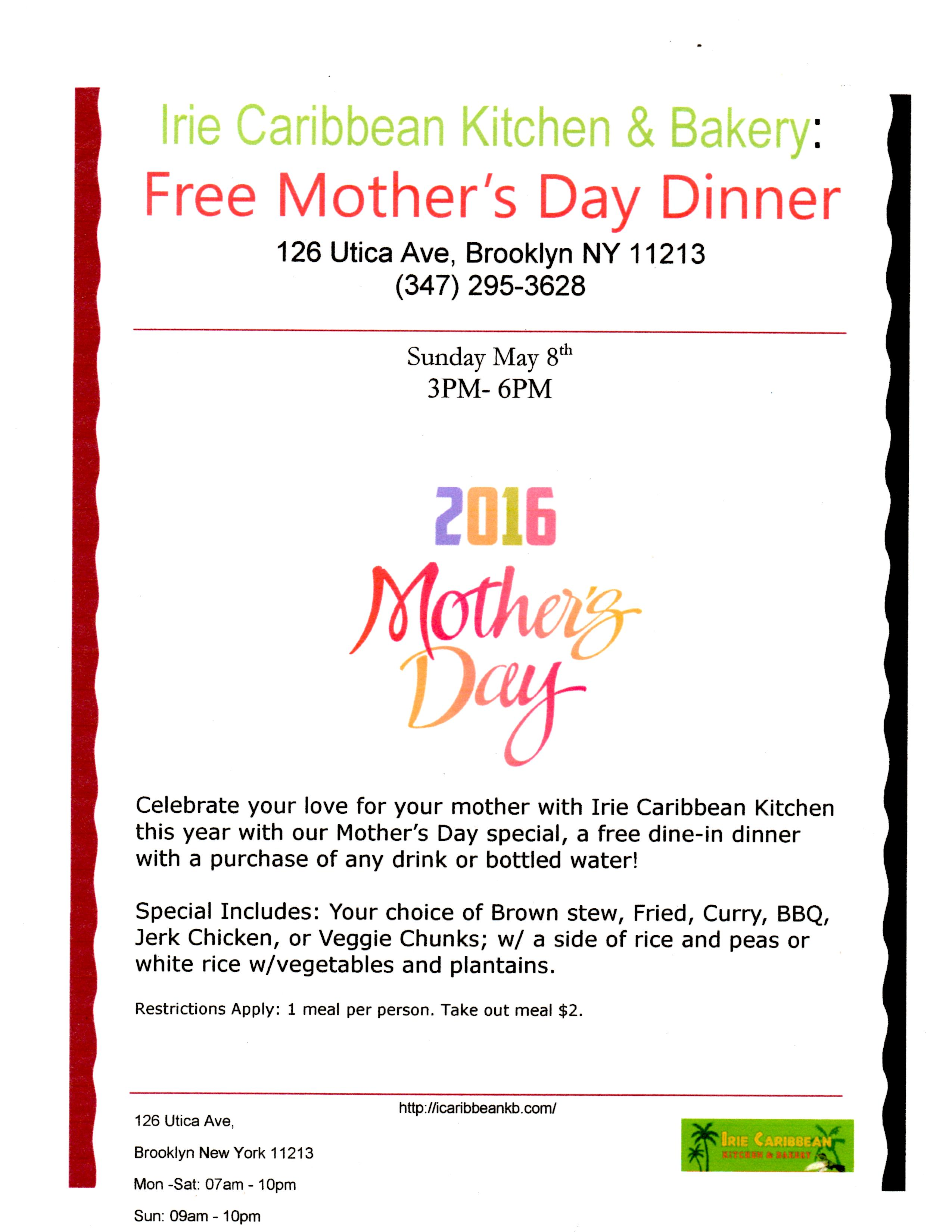 Free Mother S Day Dinner