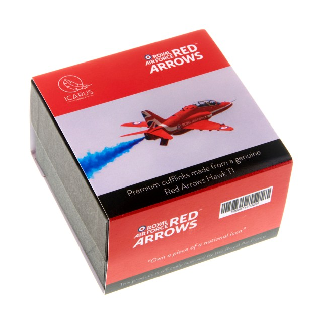 RAF Red Arrows Cufflinks made from Hawk T1 aluminium packaging