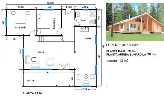 plano de casa de 108 m, una planta más buhardilla