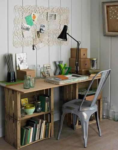 reciclar cajas de madera, muebles con cajas de madera, escritorio de cajas de madera