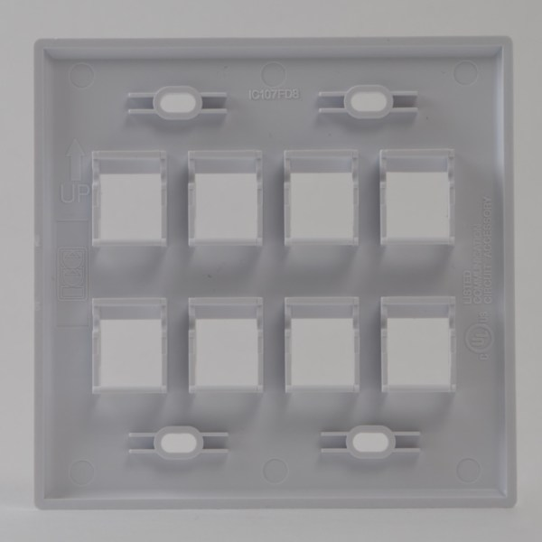 Classic Faceplate 8-Ports Double Gang Back IC107FD8WH