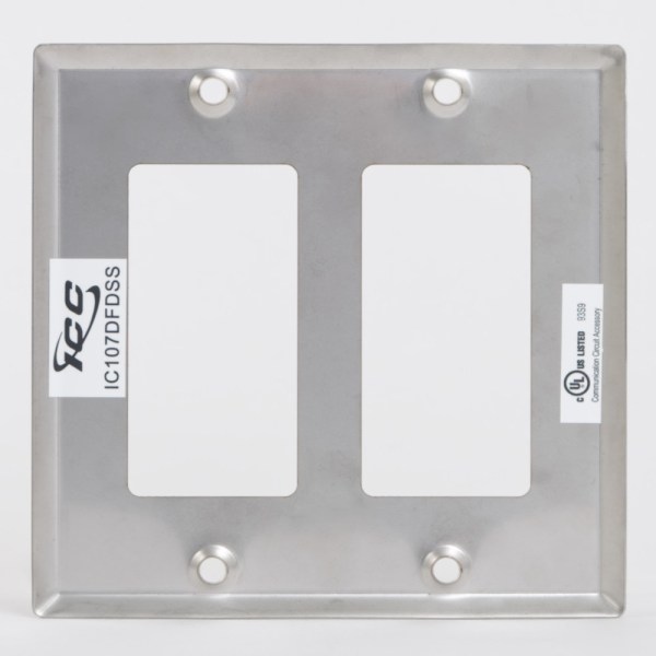 Decorex Stainless Steel Faceplate 2 Insert Back IC107DFDSS