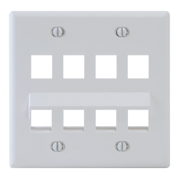 Angled Faceplate with 4 Flat and 4 Angled Ports for EZ/HD Style in Double Gang in White IC107AF8WH
