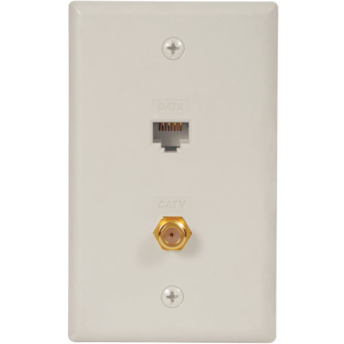 Faceplate IDC with RJ-45 CAT5e Data and F-Type in White