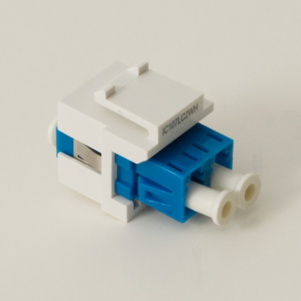 LC Fiber Optic Keystone Coupler with Ceramic Sleeves and Duplex Ports Back IC107LC2WH