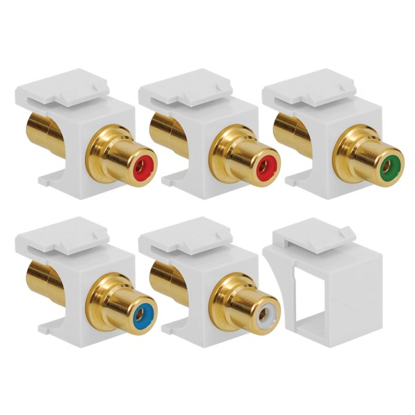 Component 5-Pack RCA to RCA Modular Jacks with Gold Plated Connectors in HD Style