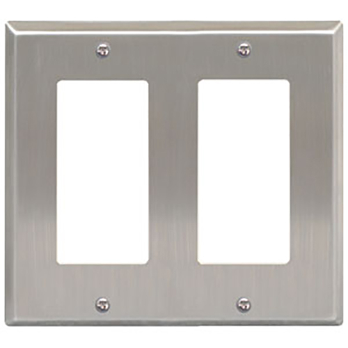 Decorex Stainless Steel Faceplate with 2 Insert Spaces in Double Gang