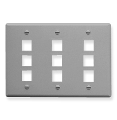 Classic Faceplate with 9 Ports for EZ/HD Style in Triple Gang