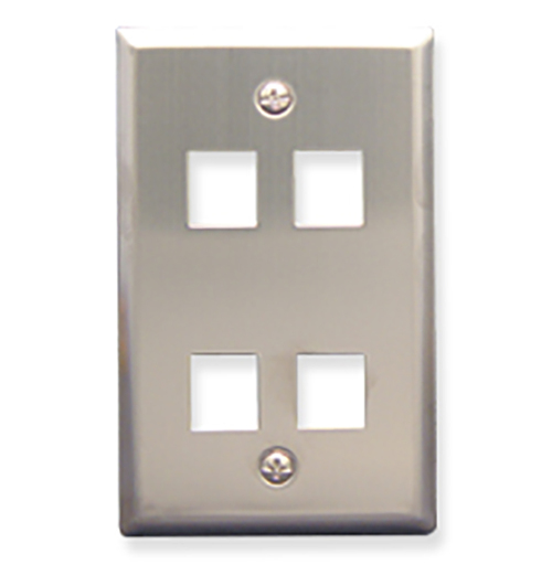 Classic Stainless Steel Faceplate with 4 Ports for EZ/HD Style in Single Gang