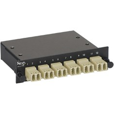 LC-MPO Fiber Optic LGX Cassette with Beige Multimode Adapters and 12 OM2 Fibers