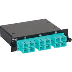 SC-MPO Fiber Optic LGX Cassette with Aqua Multimode Adapters and 12 10G OM3 Fibers