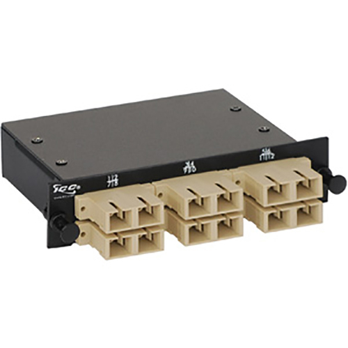 SC-MPO Fiber Optic LGX Cassette with Beige Singlemode Adapters and 12 OM1 Fibers