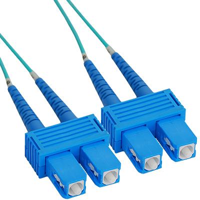 SC-SC Duplex Multimode 50/125 (OM3) Fiber Optic Patch Cable with in Aqua