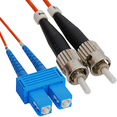 SC-ST Duplex Multimode 50/125 (OM2) Fiber Optic Patch Cable in Orange