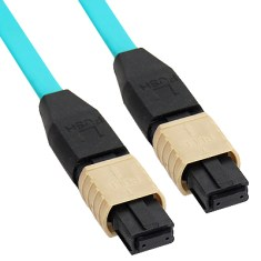 MPO-MPO Plenum Multimode 50/125 (OM3) Fiber Optic Patch Cable with 12 Fibers in Aqua