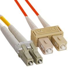 LC-SC Duplex Multimode 50/125 (OM2) Fiber Optic Patch Cable in Orange