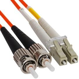 LC-ST Duplex Multimode 50/125 (OM2) Fiber Optic Patch Cable in Orange