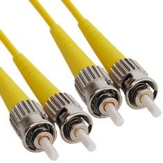 ST-ST Duplex Singlemode 9/125 (OS1) Fiber Optic Patch Cable in Yellow