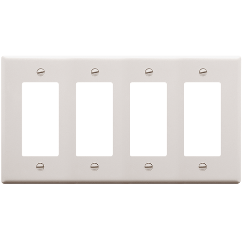 Decorex Faceplate with 4 Insert Spaces in Quad Gang in White