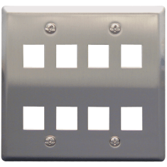 Classic Stainless Steel Faceplate with 8 Ports for EZ/HD Style in Double Gang