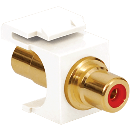 RCA to RCA Keystone Jack with Gold Plated Connector and Red Insert for HD Style in White