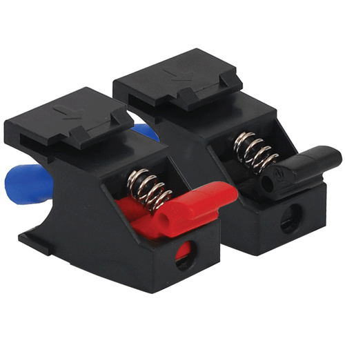 Audio Speaker Connectors in Black with Red and Black Front Spring Clips