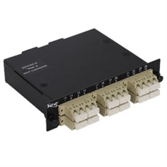 LC-MPO Fiber Optic LGX Cassette with Beige Multimode Adapters and 24 OM1 Fibers